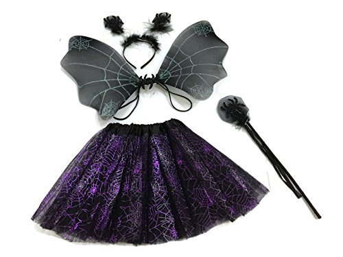 Spider Dance Costume (Rush Dance Halloween Black & Purple Spider Fairy- Wings, Wand, Headband & Tutu)
