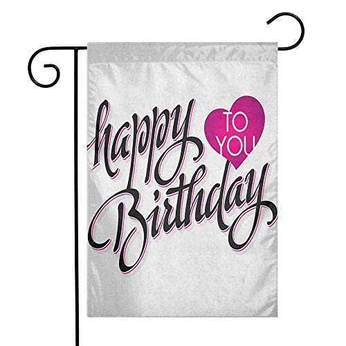 - duommhome Birthday Garden Flag Vintage Stylized Typography Hand Lettering Calligraphy Pink Heart Message Decorative Flags for Garden Yard Lawn W12 x L18 Fuchsia Black White