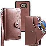 xhorizon TM FLR [Upgrade] [Detachable] [Separable] 2 in 1 Top Notch Bifold Leather Magnetic Car Mount Phone Holder Compatible Lanyard Wallet Case for Samsung Note 5 (Rose-gold)