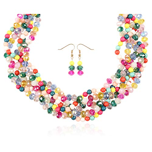 RIAH FASHION Braided Chunky Cluster Bead Bubble Statement Necklace - Multi Strand Twisted Colorful Twisted Ball Hammock Bib Collar Acrylic, Sparkly Crystal (Sparkly Twisted Bauble - Multicolor)