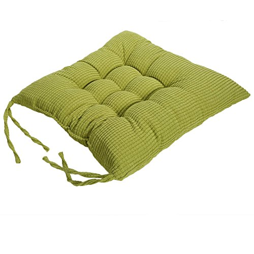 Corduroy Chair Pad - TKOOFN Expandable Polyethylene (EPE) Stuffed Seat Cushion [13.7x13.7inch] Square Chair Cushion for Home Furniture & Decor (package of 1, Green)