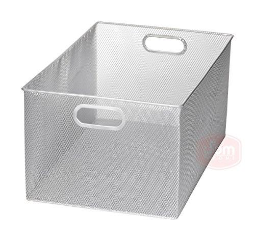 Silver Mesh Open Bin Storage Basket DVD Cd Book Holder, Closet Cabinet Organizer 12