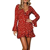 Spbamboo Women Ruffles Floral Long Sleeve Dot Print V Neck Sexy Short Mini Dress