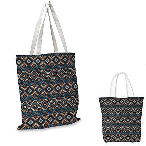 (Native American canvas shoulder bag Ethnic Knitted Jacquard View Fabric Texture Image Geometric Style canvas lunch bag Brown and Dark Blue. 13