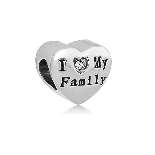 a47845be4542 demijewelry I Love My Family corazón charms Beads Fit pulsera  Amazon.es   Joyería
