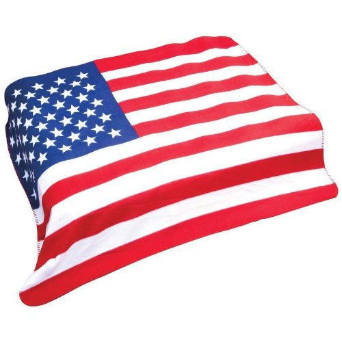 - B & F System GFLGBLK United States Flag Print Fleece Throw, 50 Inches x 60 Inches