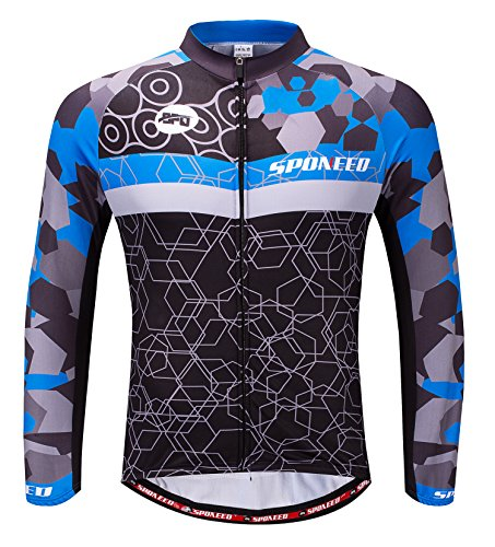 Bike Shirts Men Bicycle Jacket Long Sleeve Cycling Tops Quick Dry Uniforms Full Zip US M Blue - Triathlon Uniform