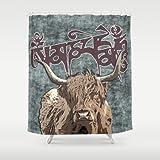 Society6 - Tibetan Yak With Mani Mantra(six-syllabled Sanskri… Shower Curtain by Nirvana.K