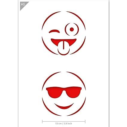 Plantilla emoji guiño y Gafas de sol emoticons - Cartón o ...