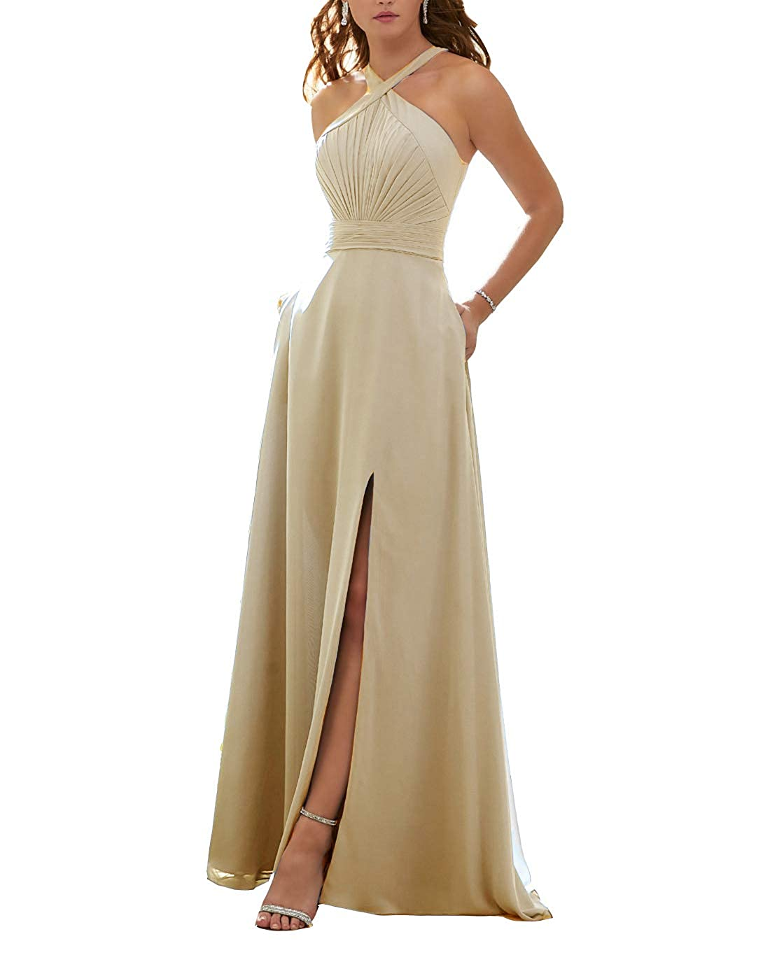 Champagne Stylefun Women's Halter Bridesmaid Dresses Slit 2019 Formal Prom Evening Party Gowns with Side Pockets KN010