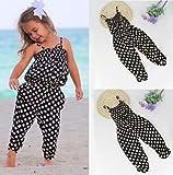 AMA(TM) Toddler Kids Baby Girls Summer Straps Dots Romper Jumpsuit Playsuit Sunsuit Harem Pants Clothes Outfits (3/4T, Black)