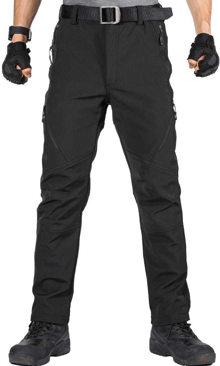 FREE SOLDIER - Pantalones Softshell para Hombre, Impermeables y Cortavientos, para Escalada y Senderismo, con Forro
