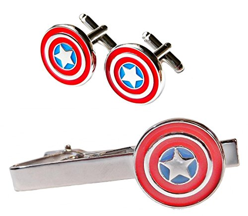 Marvel's CAPTAIN AMERICA Silvertone/Enamel TIE CLIP & CUFFLINKS SET (Twenties Costume Ideas)