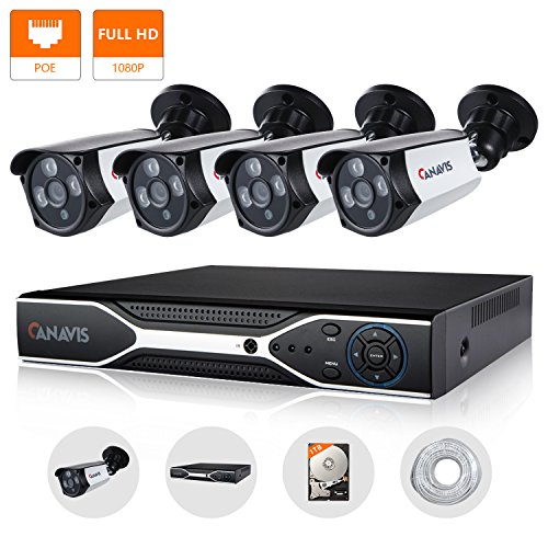 Security POE Camera System 4 Channel 1080P NVR With (4) 2.0MP IP Network Outdoor Surveillance Cameras with Night Vision Live Video Recording Playback 1TB HDD by CANAVIS