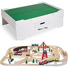 Bundle Includes 2 Items - Melissa & Doug Deluxe Wooden Multi-Activity Play Table - For Trains, Puzzles, Games, More and Melissa & Doug Deluxe Wooden Railway Train Set (130+ pcs)
