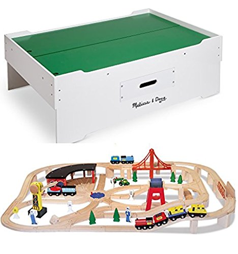 Bundle Includes 2 Items - Melissa & Doug Deluxe Wooden Multi-Activity Play Table - For Trains, Puzzles, Games, More and Melissa & Doug Deluxe Wooden Railway Train Set (130+ ()