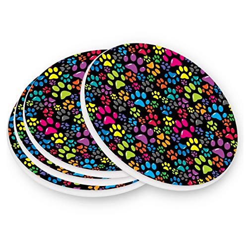 Naanle Colorful Dog Paw Print Heat-resistant Washable Coaster, Prevent Furniture from Dirty and Scratched, Coasters Set Suitable for Kinds of Mugs and Cups, Set of 4]()