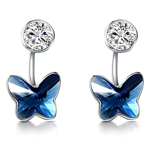 T400 925 Sterling Silver Blue Butterfly Crystal and Simulated Pearl Dangling Stud Earrings Birthday Gift for Girls ()