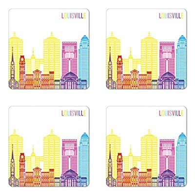 Lunarable Kentucky Coaster Set of Four, Rainbow Colored Lousiville Lettering and Important Building Silhouettes Pattern, Square Hardboard Gloss Coasters for Drinks, Multicolor