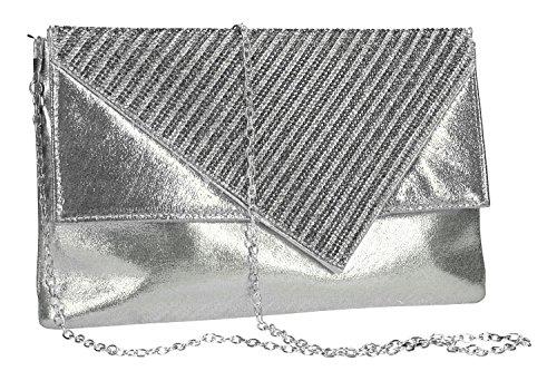 Geldbeutel frau ROMEO GIGLI pochette silber Zeremonie mit strass VN1337