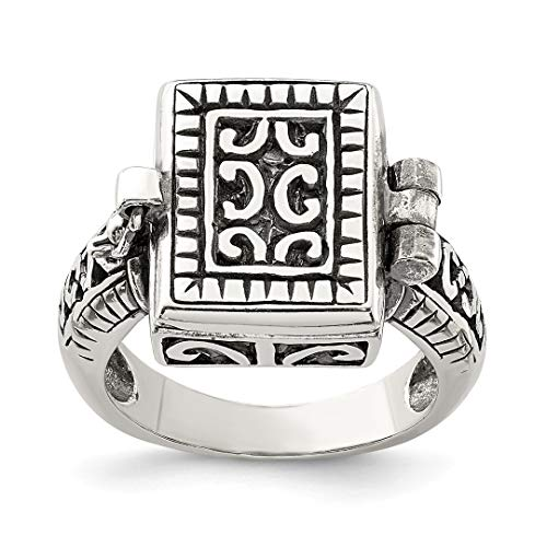 925 Sterling Silver Antique Locket Band Ring Size 8.00 Fine Jewelry For Women Gift Set ()