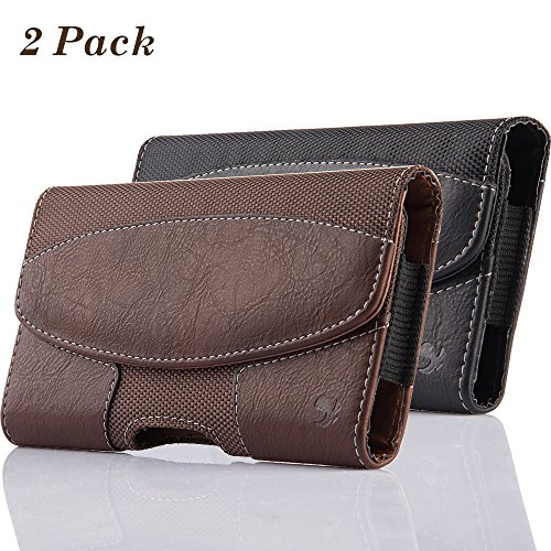 Phone Universal Horizontal Leather - 2 Pack iNNEXT iPhone 8 Pouch Case, Universal Premium Horizontal Leather Case Pouch Holster w/Magnetic Closure w/Belt Clip Holster and Belt Loops for iPhone X 7 6S 6 4.7 inch (Brown/Black)