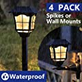 LEVE Solar Powered Garden Lights LED Outdoor Path Lights Automatic Landscape Spotlight Spikes or Wall Mounts - 4 Pack