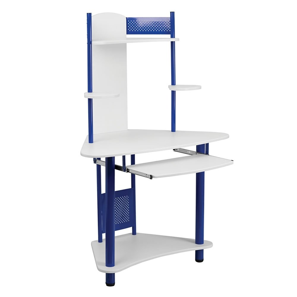Offex Corner Computer Desk with Hutch, Blue