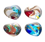 Glass Eye Studio Decorative Petite Hearts, Recycled And Repurposed Glass Accents, Random Assorted Set of 4, Small, 2-inch