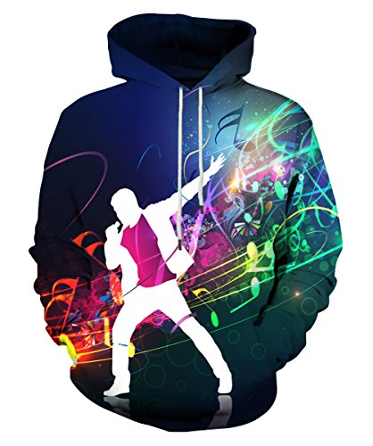 Neemanndy 3D Sweaters Hoodies Music Festival Cool Sweatshirts for Band Hooded for Youth Teenagers, Large