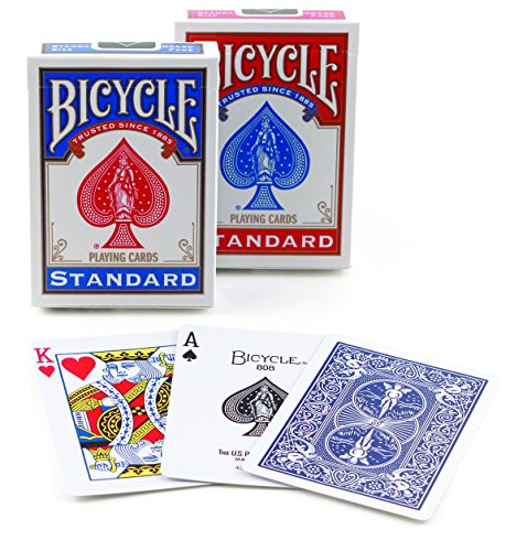 English Playing Card - Bicycle Poker Size Standard Index Playing Cards [Colors May Vary: Red, Blue or Black]