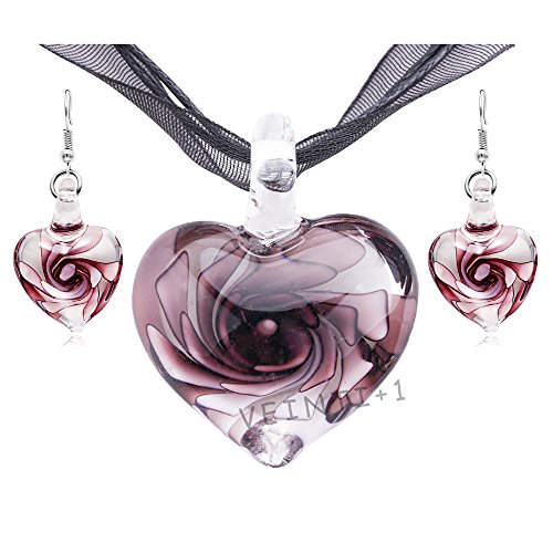 VEINTI+1 Exotic Style Eye-catcher Handmade Romantic Heart with Pink Flower Design Glass Jewelry Set Necklace and Earrings(Purple Set)
