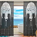 SEULIFE Window Sheer Curtain, Animal Black Cat Music Note Moon Voile Curtain Drapes for Door Kitchen Living Room Bedroom 55x78 inches 2 Panels