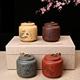 XDOBO Purple Clay Hand-painted Ceramic Tea Tin Seal Pot Tea Storage Container Sealed Can Tea Accessories (Plum blossoms, orchid, bamboo and chrysanthemum)