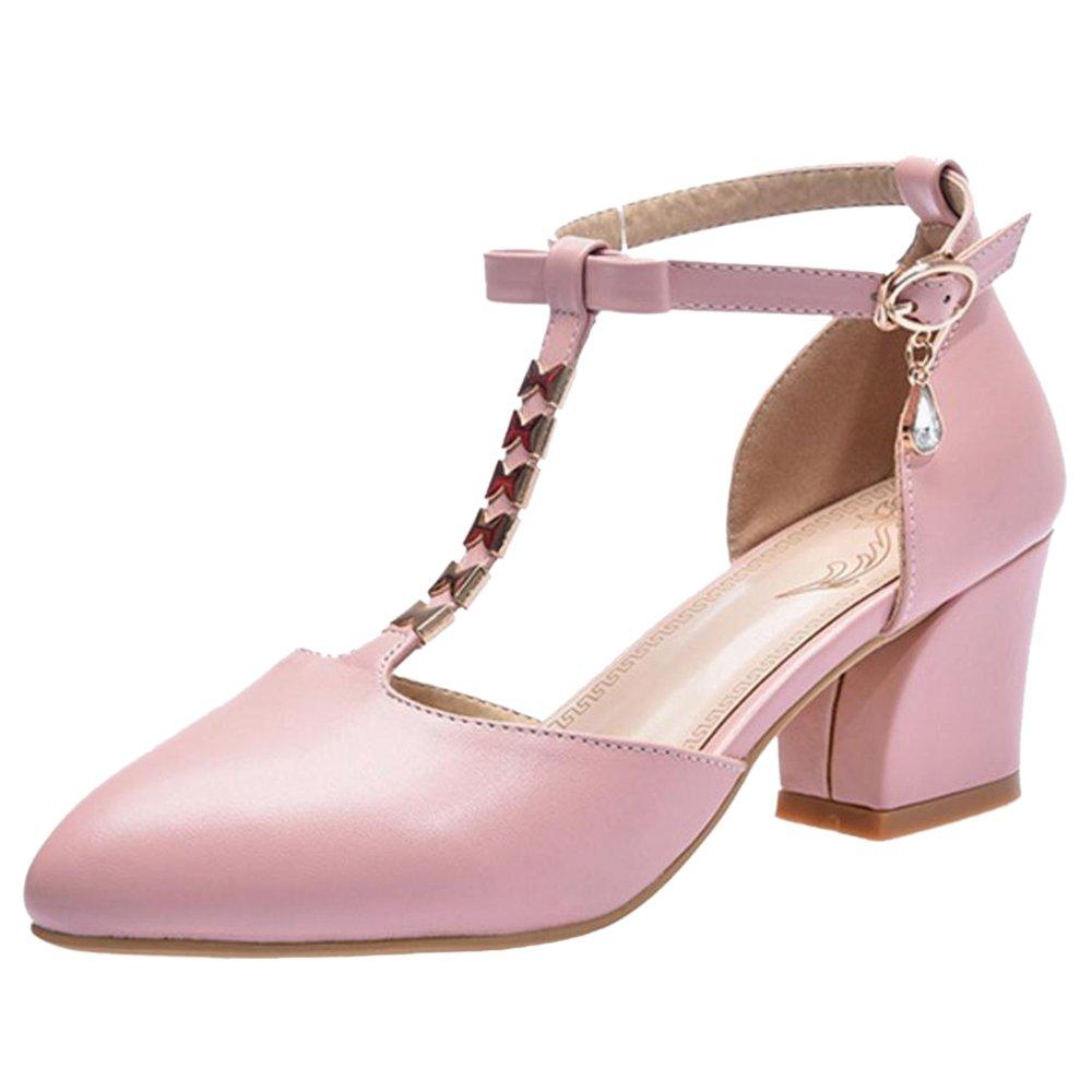 TAOFFEN Damen Sandaletten Blockabsatz Sandalen Schuhe Sommer  32 EU|Pink