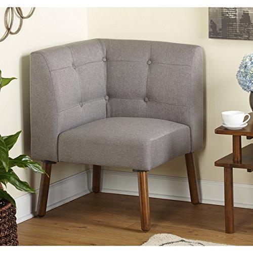 Simple Living Wood Fabric Playmate Corner Chair, Grey