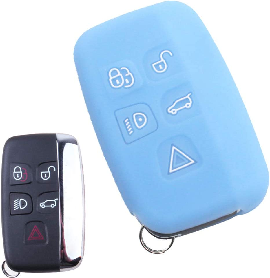 ECOiNVA for Land Rover Discovery Sport Range Rover Evoque Sport Car Key Case Silicone Keycase Fob Cover Remote Control Cases (A-Blue)