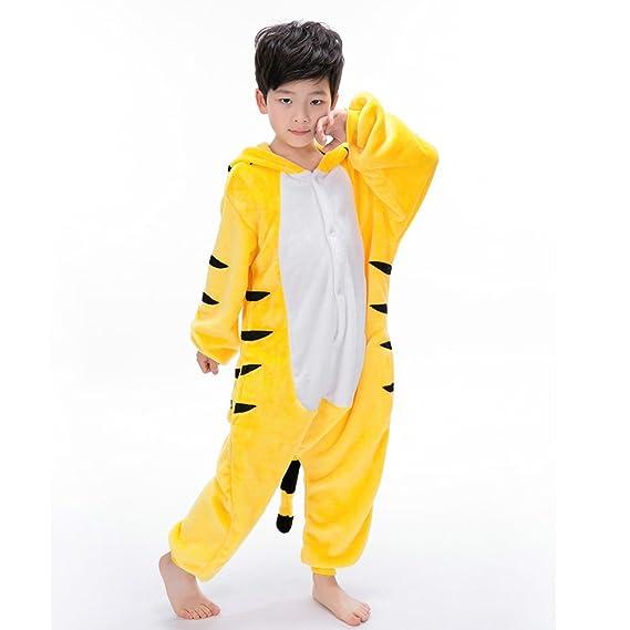 4d9cdb743c735 Ensemble de Pyjama Grenouillère Tigre Combinaison Pyjama Animaux Cosplay  Costume Déguisement Mignon Enfant Unisexe