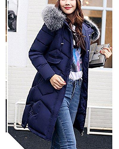 Clothing Cotton Coat Jacket Big Hooded Feel Long Down Blue Womens Collar xIwq8z4
