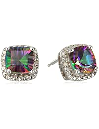 Sterling Silver Mystic Fire Topaz and Diamond Cushion Earrings