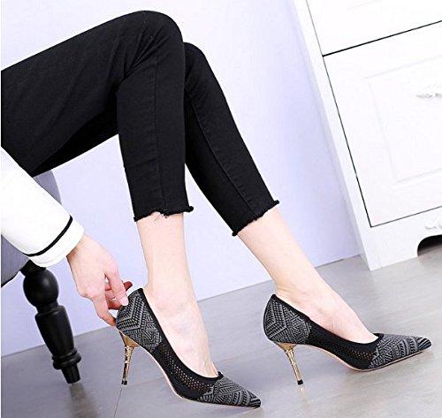 MDRW-Lady Elegant Arbeit Freizeit Feder 8 Cm Spitzen Schuhe Mit Schuhe Hohen Absätzen Mit Einem Feinen Flache Mund Schuhe Mit Sexy Jacobs Farbe Alle-Schuhe 38 Grau 704566