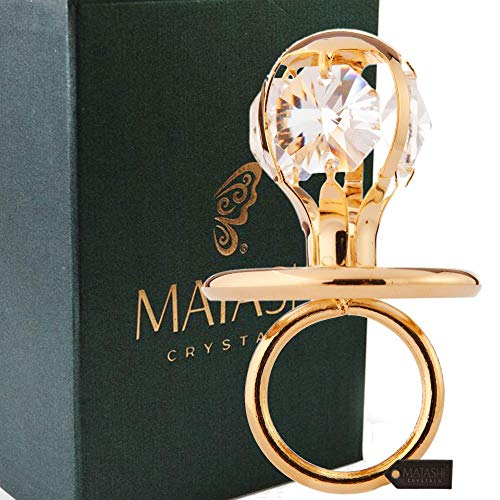 Matashi 24K Gold Plated Baby Pacifier Ornament with Crystals Babys First Christmas Holiday Ornament and Hanging Pendant - Great Gift for Baby Shower, ...
