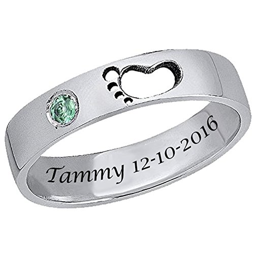 Ouslier 925 Sterling Silver Personalized Birthstone Baby Footprint Name Ring Custom Made with Name and Date (Silver)
