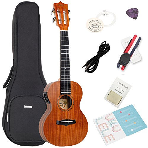 Acoustic Electric Tenor Ukulele with Bag,Strap, Extra Aquila Strings,Polishing Cloth,2 Pins Installed,Instructional Book,By HANKEY KUT-70 EQ by HANKEY