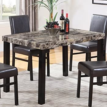 Amazon Com Pompei Dining Table With Faux Marble Top Tables