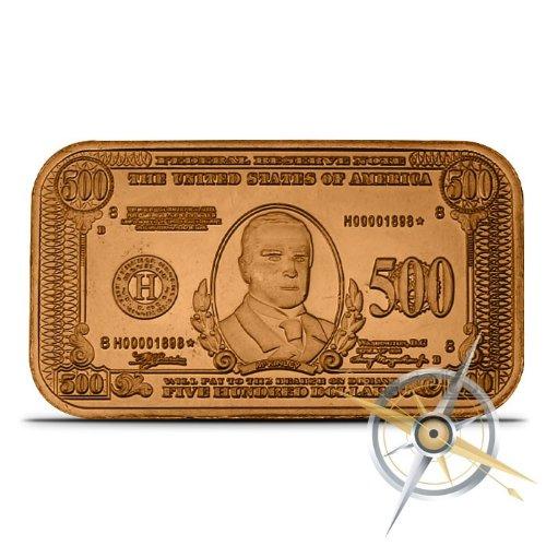 1934 $500 McKinley Fed Note 1 oz Copper Ingot -