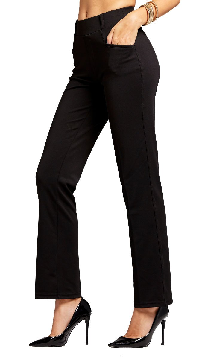 Conceited Women's Dress Pants - Slim and Bootcut - 7 Colors - by (X-Large, Bootcut Black)