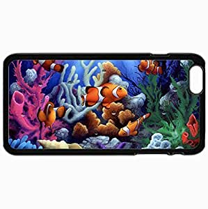 Customized Cellphone Case Back Cover For iPhone 6 Plus, Protective Hardshell Case Personalized Clown Fish Black