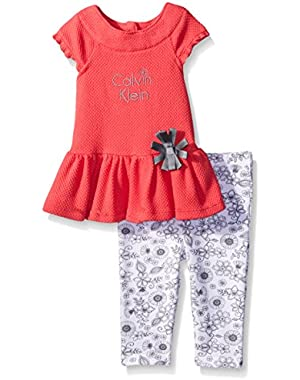 Baby Girls' Popcorn Knit Tunic and Printed Leggings