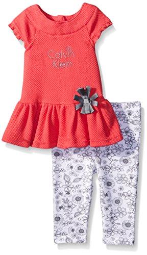 Calvin Klein Baby-Girls Popcorn Knit Tunic and Printed Leggings, Multi, 0-3 Months ()